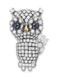 A DIAMOND AND SAPPHIRE OWL BROOCH, BY NARDI