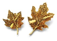 A PAIR OF RETRO CITRINE AND GOLD BROOCHES, BY PAUL FLATO