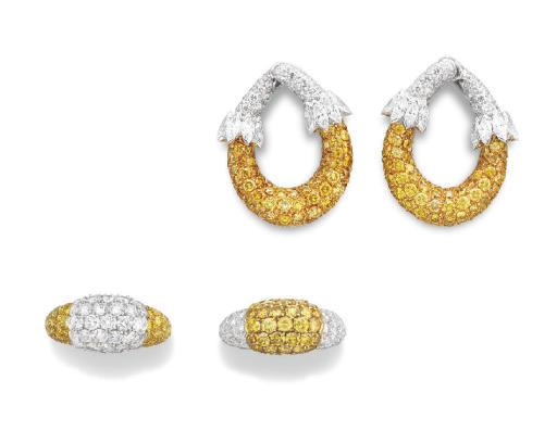 A SET OF COLORED DIAMOND JEWELRY