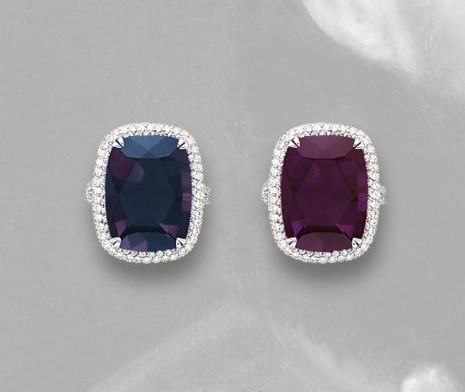 AN ALEXANDRITE AND DIAMOND RING
