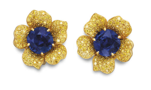 A PAIR OF SAPPHIRE AND COLORED DIAMOND FLOWER EAR CLIPS, BY CARVIN FRENCH