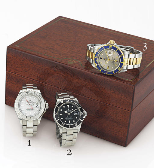 ROLEX. A FINE STAINLESS STEEL WRISTWATCH WITH CENTER SECONDS, DATE AND BRACELET