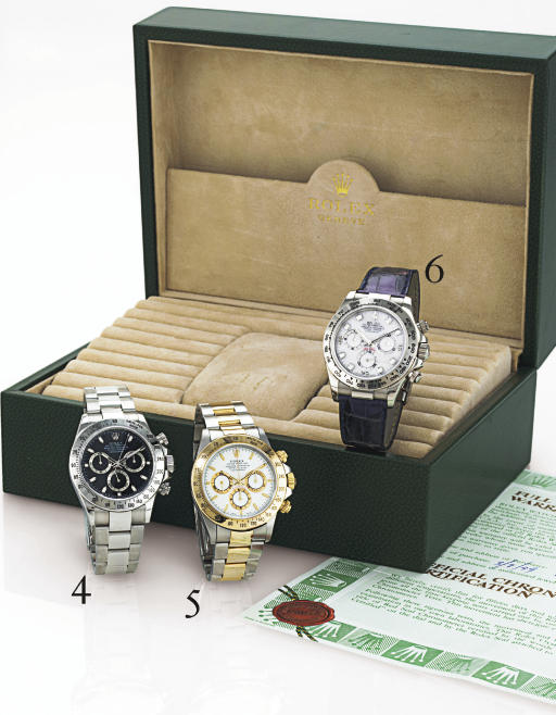 ROLEX. A FINE 18K WHITE GOLD AND DIAMOND CHRONOGRAPH WRISTWATCH WITH SLATE SERTI DIAL