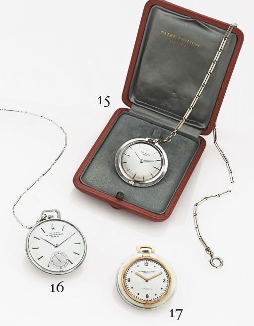 PATEK PHILIPPE.  A RARE 18K WHITE GOLD OPENFACE KEYLESS LEVER DRESS POCKET WATCH