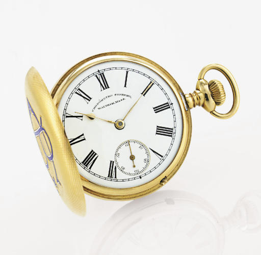 WALTHAM. A FINE AND RARE 18K GOLD OPENFACE KEYLESS LEVER POCKET WATCH