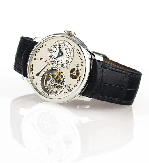 F.P. JOURNE. A RARE AND UNUSUAL PLATINUM TOURBILLON WRISTWATCH WITH CONSTANT FORCE REMONTOIR AND POWER RESERVE