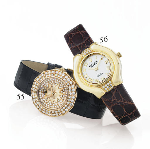 ROLEX. A LADY'S 18K GOLD AND DIAMOND TONNEAU WRISTWATCH