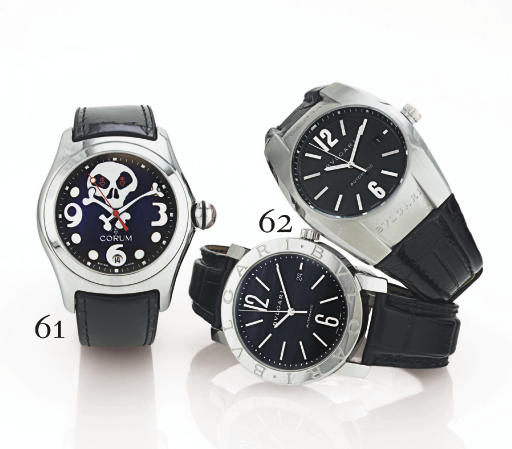CORUM. A LIMITED EDITION STAINLESS STEEL TONNEAU AUTOMATIC WRISTWATCH WITH CENTER SECONDS AND DATE