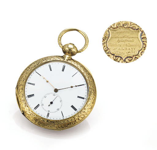 MATILE. A RARE AND UNUSUAL 18K GOLD CONVERTIBLE KEYWIND DUPLEX POCKET WATCH