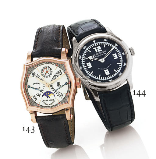 ROGER DUBUIS. AN 18K PINK GOLD SHAPED SQUARE AUTOMATIC BI-RETROGRADE PERPETUAL CALENDAR WRISTWATCH WITH MOON PHASES