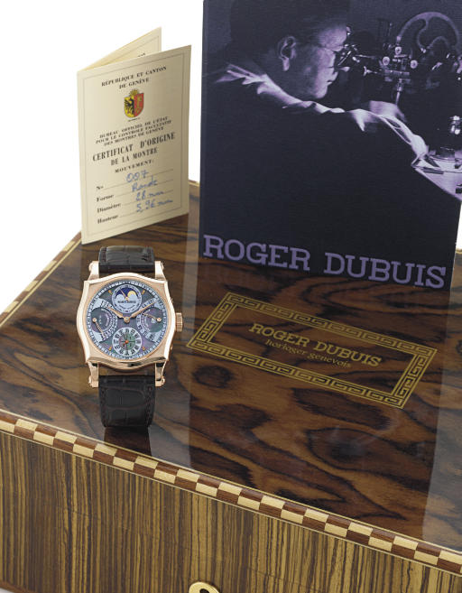 ROGER DUBUIS. A FINE AND RARE LIMITED EDITION 18K PINK GOLD AND MOTHER-OF-PEARL SHAPED SQUARE PERPETUAL CALENDAR TOURBILLON WRISTWATCH WITH MOON PHASES