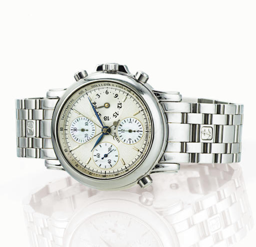 ULYSSE NARDIN.  A STAINLESS STEEL AND MOTHER-OF-PEARL AUTOMATIC SPLIT SECOND CHRONOGRAPH WRISTWATCH WITH 24 HOURS AND BRACELET