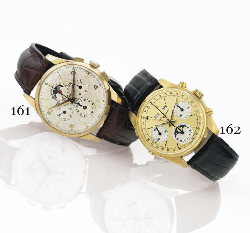 UNIVERSAL. A RARE 18K PINK GOLD TRIPLE CALENDAR CHRONOGRAPH WRISTWATCH WITH MOON PHASES