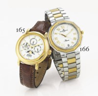 BAUME & MERCIER. A STAINLESS STEEL AND GOLD POLYGONAL WRISTWATCH WITH DATE, CENTER SECONDS AND BRACELET