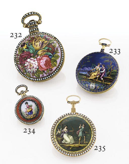 DIMIER. A GILT-METAL, ENAMEL AND PEARL OPENFACE KEYWIND DUPLEX POCKET WATCH