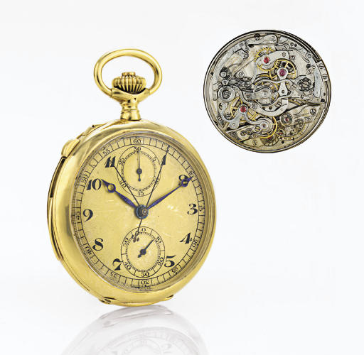 JULES JÜRGENSEN.  A RARE 18K GOLD HUNTER CASE MINUTE REPEATING SPLIT SECOND CHRONOGRAPH KEYLESS LEVER POCKET WATCH