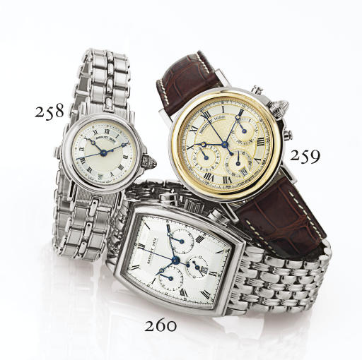 BREGUET. A STAINLESS STEEL AND GOLD AUTOMATIC CHRONOGRAPH WRISTWATCH WITH DATE