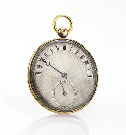 MOCHELLE. A RARE AND UNUSUAL 18K GOLD OPENFACE KEYWIND CYLINDER POCKET WATCH WITH RETROGRADE HOURS