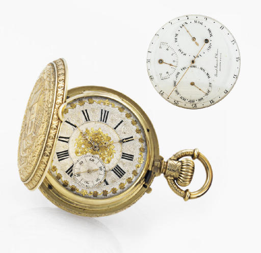 PICARD FRERES & F. RUSSER. A FINE 18K GOLD HUNTER CASE DOUBLE DIAL TRIPLE CALENDAR CHRONOGRAPH KEYLESS LEVER POCKET WATCH