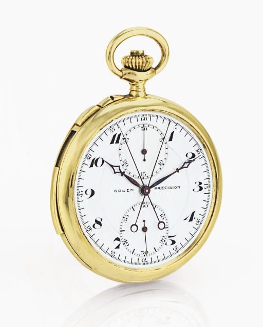 GRUEN.  A RARE 18K GOLD OPENFACE MINUTE REPEATING SPLIT SECOND CHRONOGRAPH KEYLESS LEVER POCKET WATCH