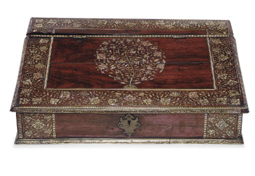 AN ANGLO-INDIAN IVORY-INLAID ROSEWOOD WRITING-BOX**