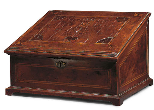 A GEORGE II YEW-WOOD AND MARQUETRY WRITING-BOX