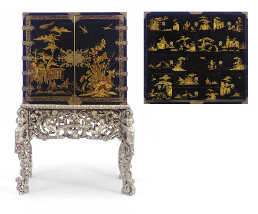 A CHARLES II BRASS-MOUNTED BLACK, POLYCHROME AND GILT-JAPANNED CABINET- ON-SILVERED-STAND