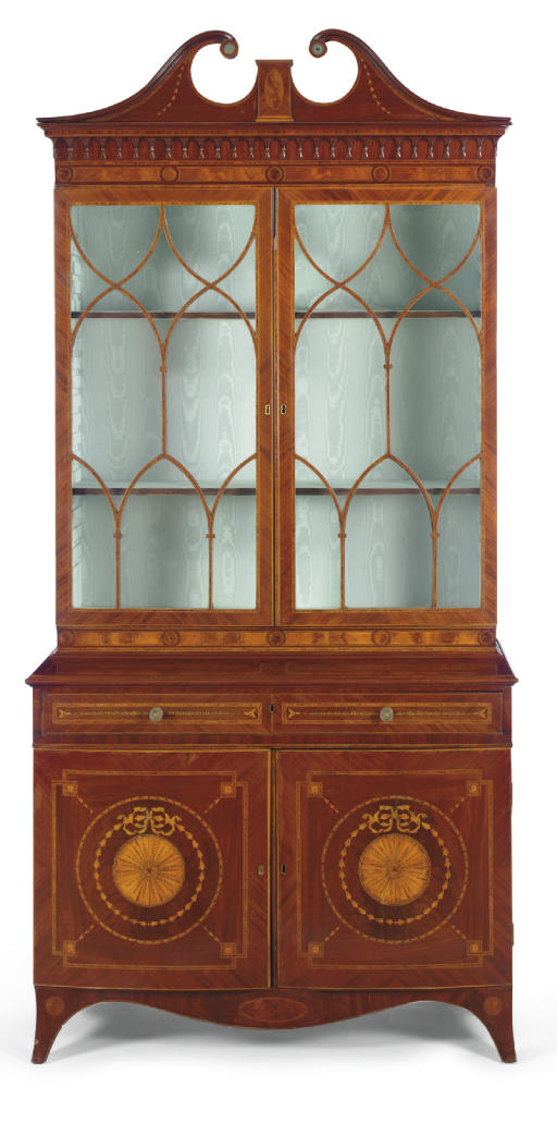A LATE VICTORIAN MAHOGANY, ROSEWOOD AND MARQUETRY BOOKCASE-CABINET**