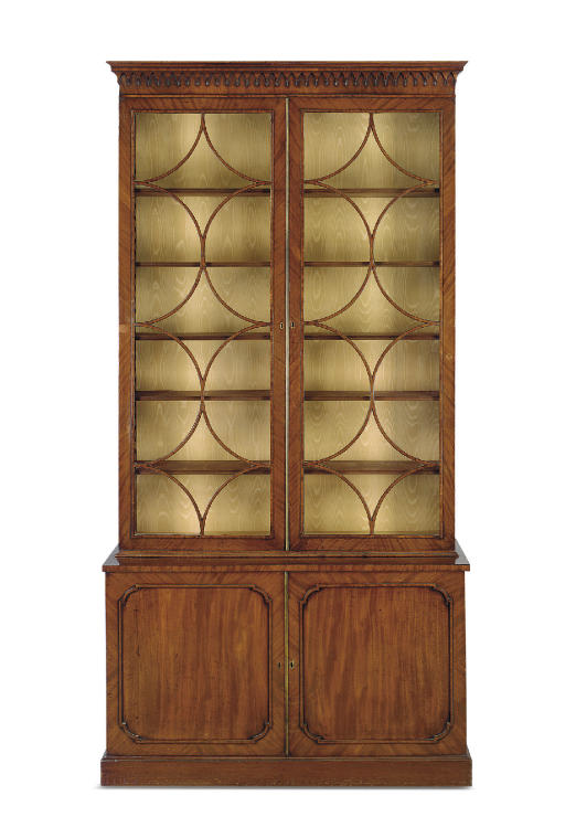 A GEORGE III MAHOGANY BOOKCASE-CABINET
