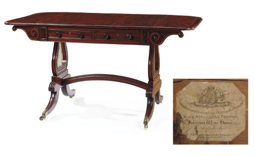 AN IRISH REGENCY MAHOGANY SOFA TABLE