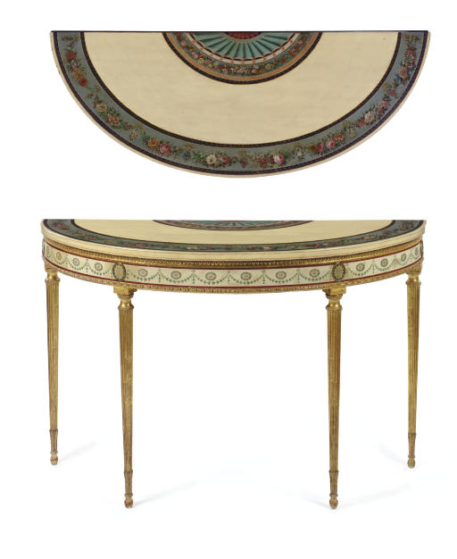 A GEORGE III CREAM, POLYCHROME-DECORATED AND PARCEL-GILT PIER TABLE