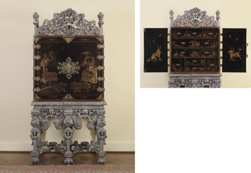 A CHARLES II ENGRAVED-BRASS-MOUNTED BLACK AND GILT-JAPANNED CABINET ON A SILVERED STAND