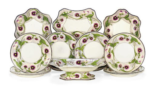 A WEDGWOOD PEARLWARE PALE LILAC-GROUND PART DESSERT SERVICE