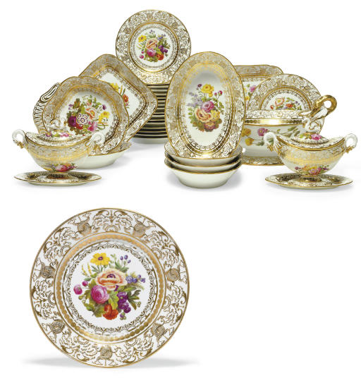 A SPODE 'DOLPHIN-EMBOSSED' PART DESSERT SERVICE