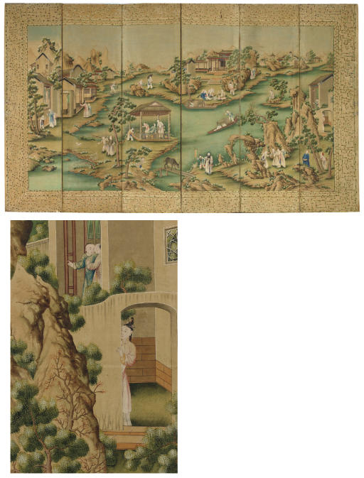 A CHINESE EXPORT POLYCHROME-PAINTED PAPER SIX-PANEL SCREEN
