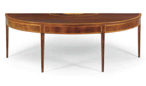 A GEORGE III MAHOGANY AND SATINWOOD SERVING-TABLE