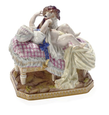A MEISSEN FIGURE OF A BABY AND