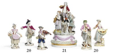 FIVE MEISSEN FIGURES OF REVELE