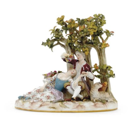 A MEISSEN PASTORAL GROUP OF A