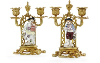 A PAIR OF ORMOLU-MOUNTED MEISS