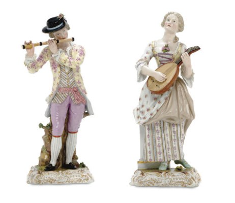 A LARGE PAIR OF MEISSEN FIGURE