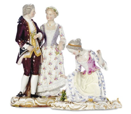 A MEISSEN FIGURE GROUP OF A GA