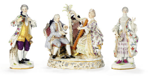 A PAIR OF  MEISSEN FIGURES OF A GALLANT AND COMPANION AND A MEISSEN GROUP OF MUSICIANS