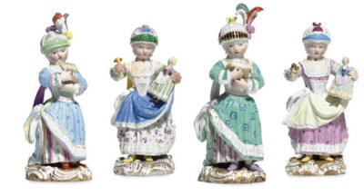 FOUR MEISSEN FIGURES OF YOUNG