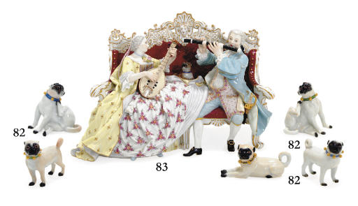 FIVE MEISSEN MODELS OF PUGS