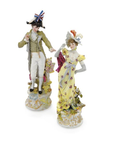 A PAIR OF MEISSEN FIGURES OF A