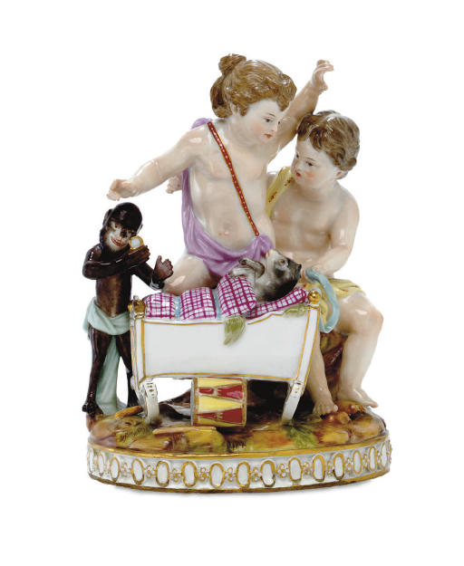 A MEISSEN GROUP OF TWO PUTTI '