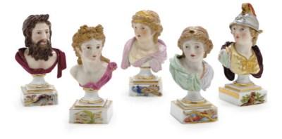 FIVE MEISSEN BUSTS OF MYTHOLOG
