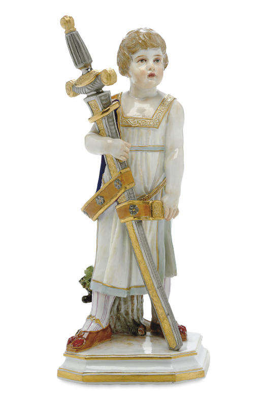 A MEISSEN FIGURE OF THE YOUNG KING ARTHUR