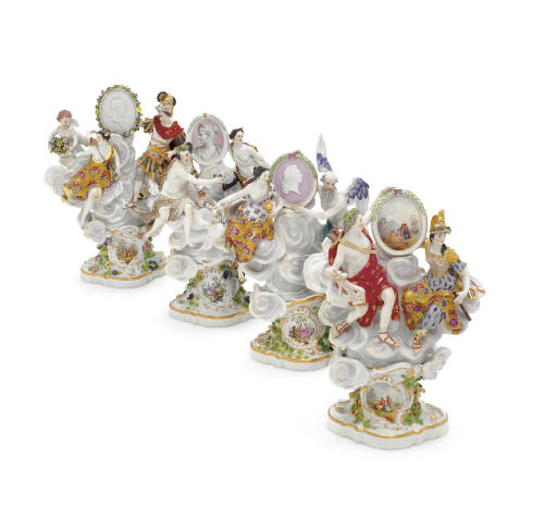 FOUR MEISSEN MYTHOLOGICAL FIGURE GROUPS ON STANDS EMBLEMATIC OF THE SEASONS